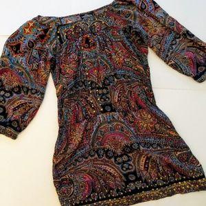 Angie Wns Large Paisley Mini Boho Festival Dress